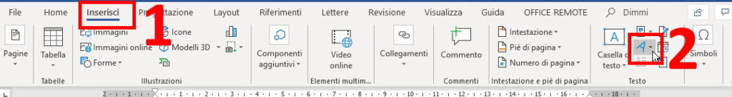 Come fare testo in diagonale WordArt