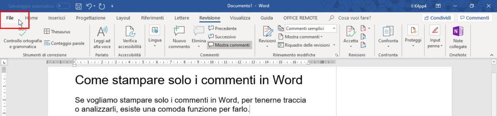 stampare solo commenti in Word menu File Stampa