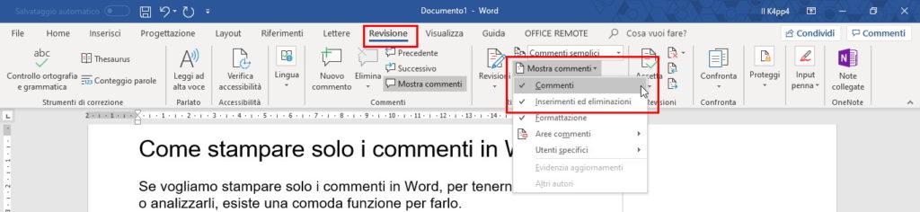 stampare solo commenti in Word revisioni mostra commenti