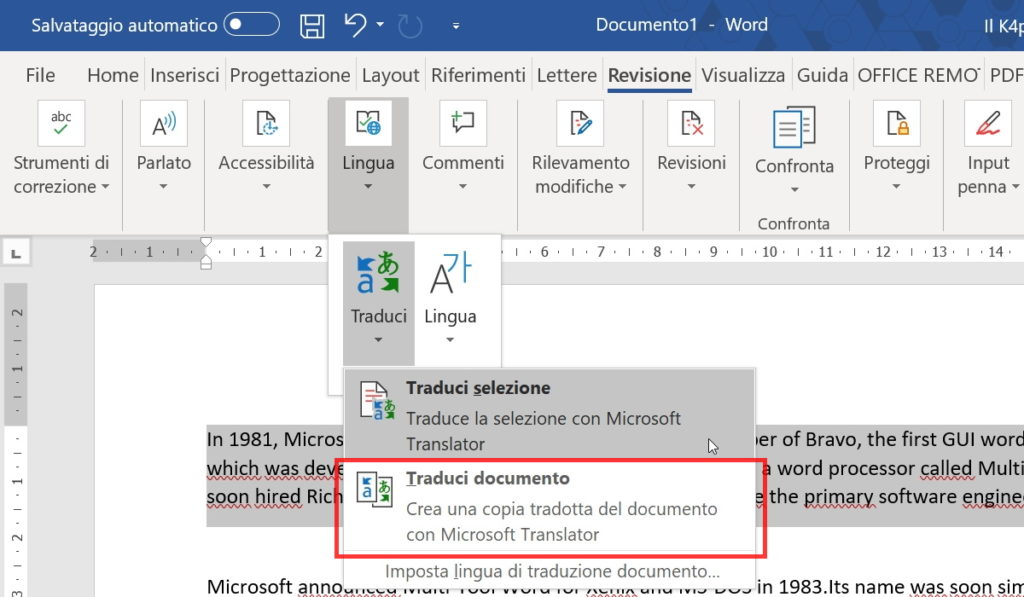 Tradurre un documento in Word
